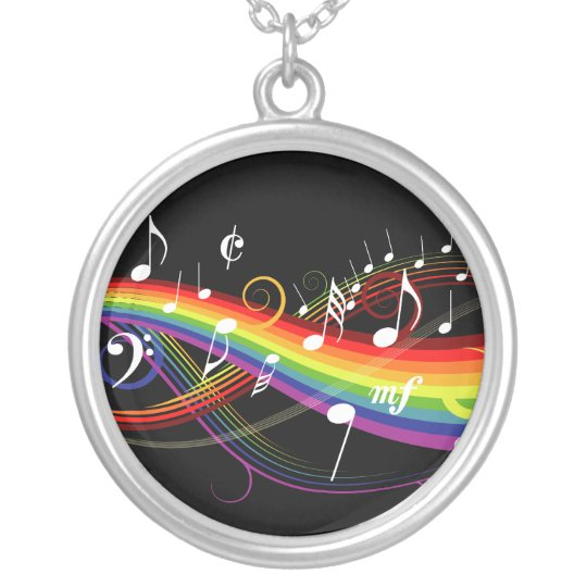 Rainbow White Music Notes on Black Silver Plated Necklace