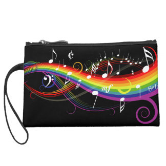Rainbow White Music Notes on Black Suede Wristlet Wallet