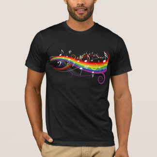 Rainbow White Music Notes on Black T-Shirt