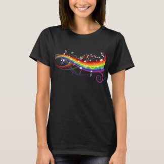 Rainbow White Music Notes on Black T-Shirt