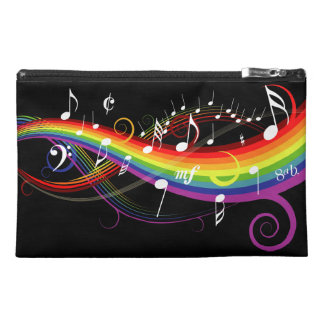 Rainbow White Music Notes on Black Travel Accessory Bag
