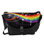 Rainbow White Music Notes Rickshaw Messenger Bag
