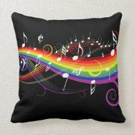 Rainbow White Music Notes Square Throw Pillow
