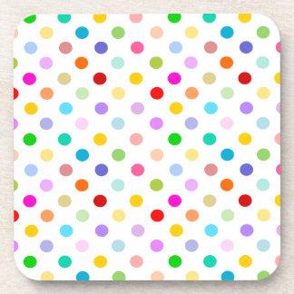 Rainbow White Polka Dot pattern Beverage Coaster