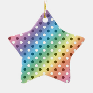 Rainbow white polka dots Double-Sided star ceramic christmas ornament