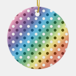 Rainbow white polka dots Double-Sided ceramic round christmas ornament