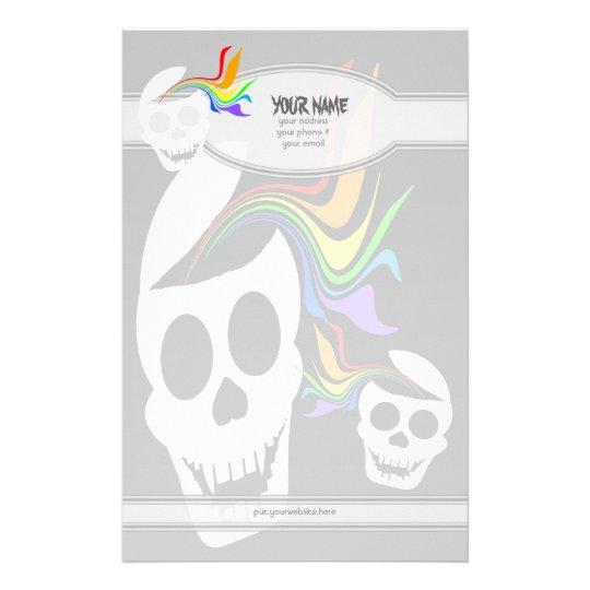 Rainbow White Skull Personalized Stationery