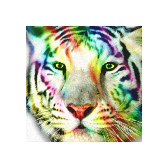 Rainbow  White Tiger Wrapped Canvas Print