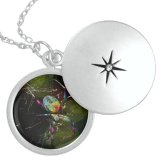 Rainbow Widow Sterling Silver Necklace