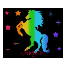 Rainbow Wild Horse Star Girl Blacklight Neon Poster