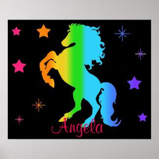 Rainbow Wild Horse Star Girl Blacklight Neon Poster