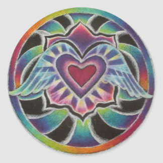 Rainbow Winged Heart Mandala Classic Round Sticker