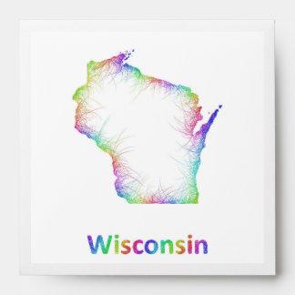 Rainbow Wisconsin map Envelope