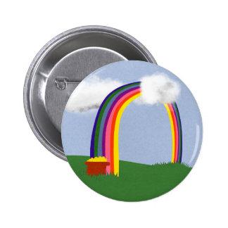 Rainbow with A Pot of Gold Cartoon Art Pins