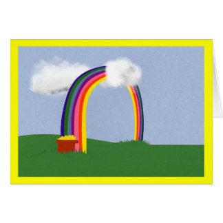 Rainbow with A Pot of Gold Cartoon Art Card