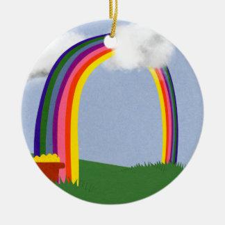 Rainbow with A Pot of Gold Cartoon Art Ceramic Ornament