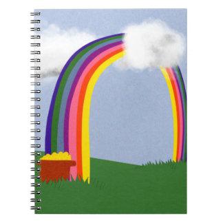 Rainbow with A Pot of Gold Cartoon Art Notebook