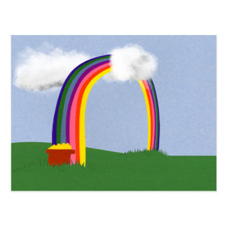 Rainbow with A Pot of Gold Cartoon Art Post Cards