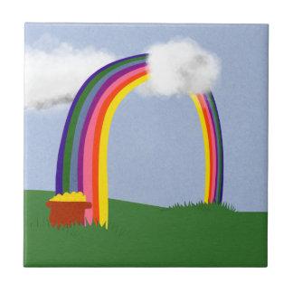 Rainbow with A Pot of Gold Cartoon Art Ceramic Tile