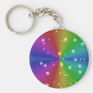 rainbow with asterisks basic round button keychain