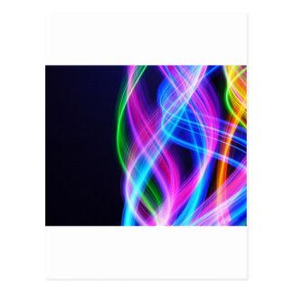 Rainbow with black  laser like design postcard