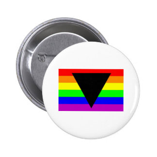 Rainbow with Black Triangle for Gay and Lesbians Button