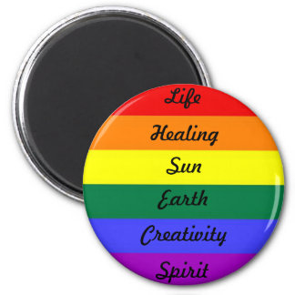 Rainbow with meaning 2 inch round magnet