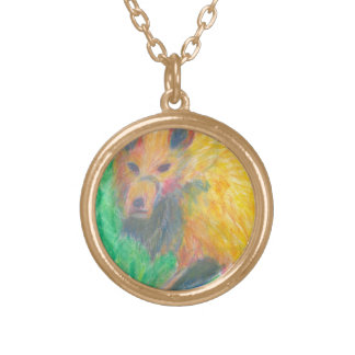 Rainbow Wolf Round Pendant Necklace