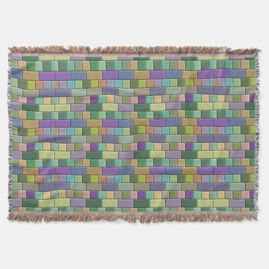 Rainbow Wood Tiles Throw Blanket