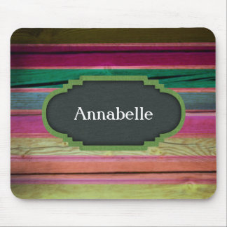 Rainbow Wood With Chalkboard Personalization Mouse Pad