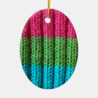 rainbow Wool Sock Ceramic Ornament