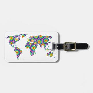 Rainbow world luggage tag