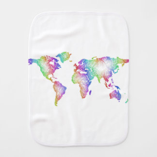Rainbow World map Baby Burp Cloth