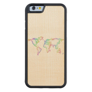Rainbow World map Carved Maple iPhone 6 Bumper Case