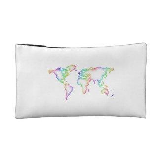 Rainbow World map Cosmetic Bag