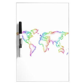 Rainbow World map Dry-Erase Board
