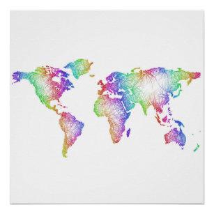 Rainbow world map posters photo prints zazzle rainbow world map poster gumiabroncs Gallery