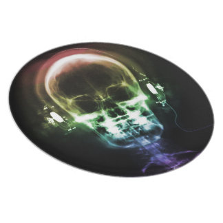 Rainbow X-Ray Music Headphones Skeleton Dinner Plate