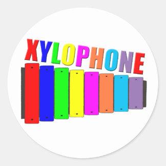 rainbow xylophone classic round sticker