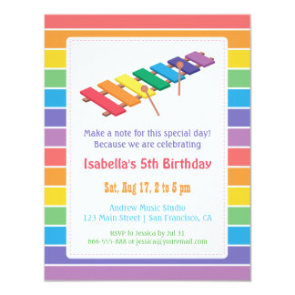 Rainbow Xylophone Kids Music Themed Birthday Party 4.25x5.5 Paper Invitation Card