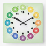 Rainbow yarn ball Square Wall Clock with numbers