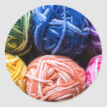 Rainbow yarn classic round sticker