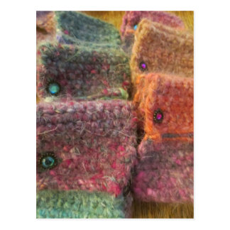 Rainbow Yarn Crochet Cuff Bracelets Postcard
