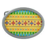 Rainbow yellow aztec tribal pattern oval belt buckle