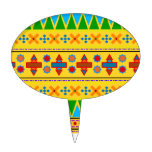 Rainbow yellow aztec tribal pattern cake pick