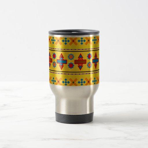 Rainbow yellow aztec tribal pattern coffee mugs