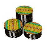 Rainbow yellow aztec tribal pattern poker chips set