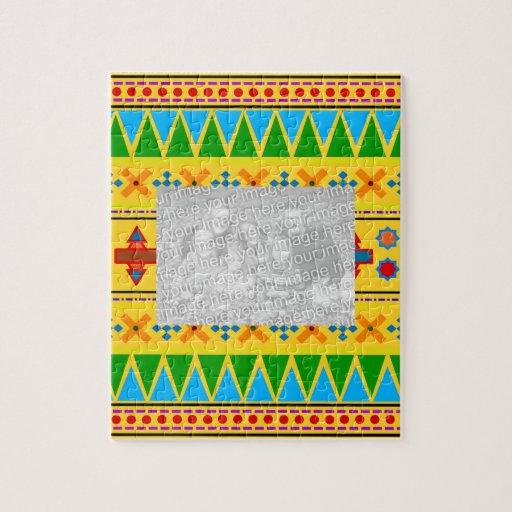 Rainbow yellow aztec tribal pattern puzzle