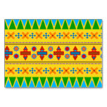 Rainbow yellow aztec tribal pattern table cards