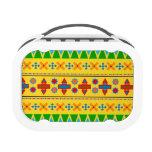 Rainbow yellow aztec tribal pattern yubo lunchbox